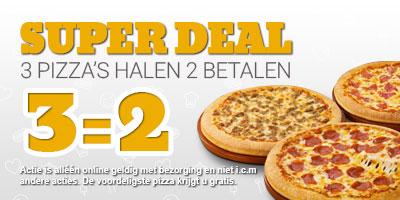 3 Pizza's halen 2 Betalen